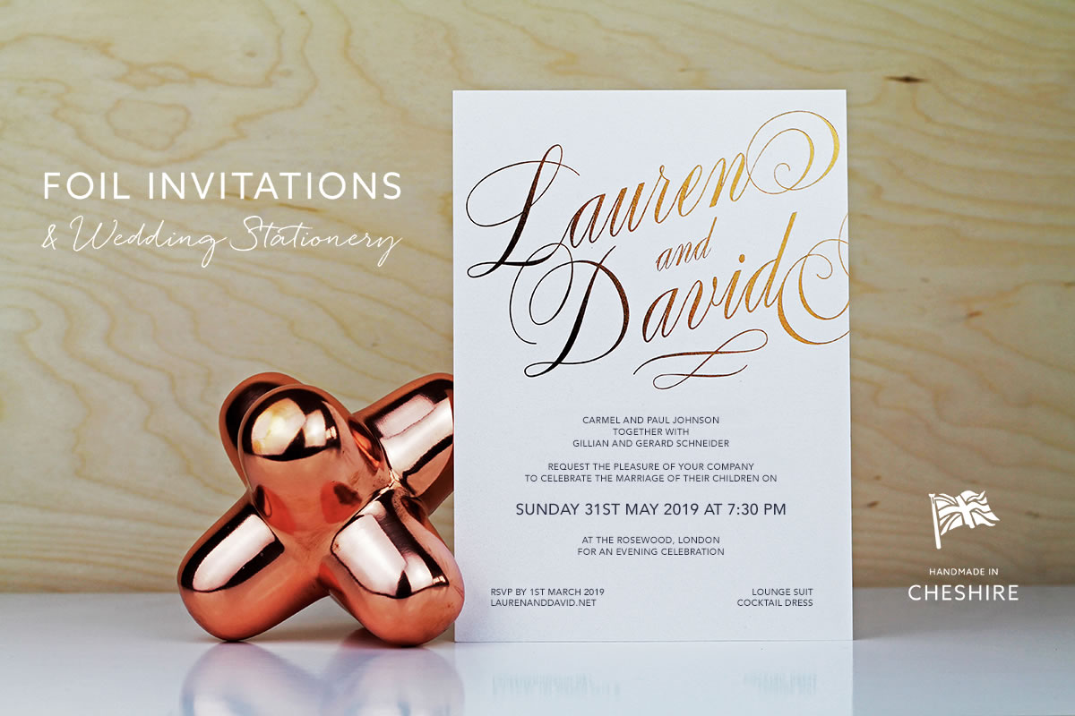 Foil invitations and wedding stationery