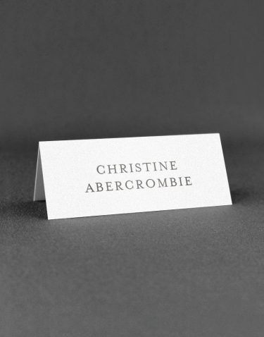 Elegance Wedding Place Cards on White Pearl Card
