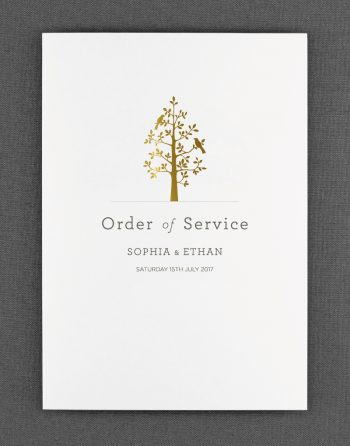 Harper Order of Service Foil Printed in Gold on White Card