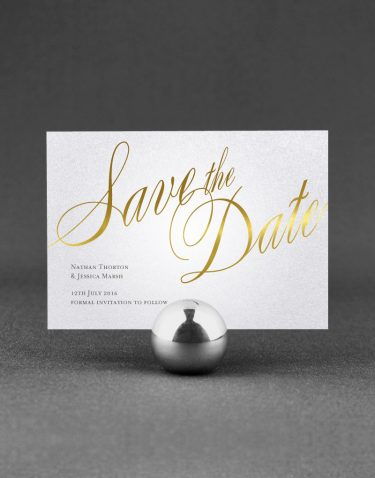 Pemberley Save the Date Foil Pressed in Gold on White Pearl Card