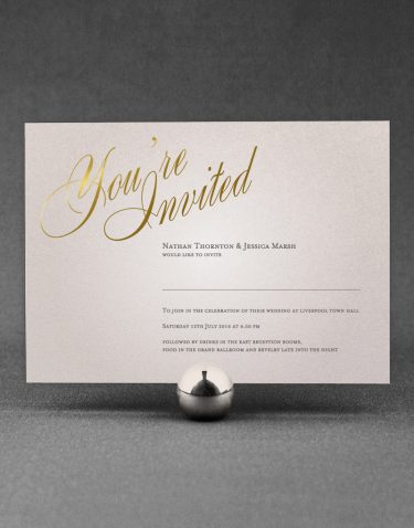 Pemberley Wedding Invitation Foil Pressed in Gold on Oyster Pearl Card