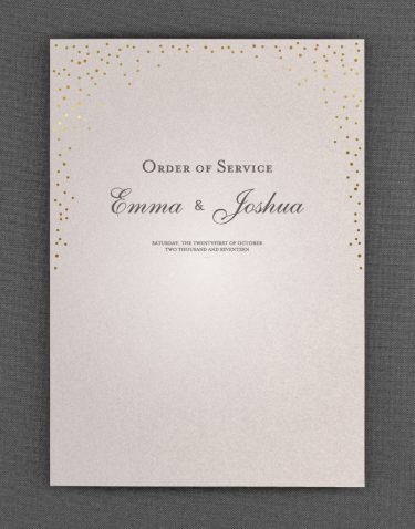 Sparkle Order of Service Foil Pressed in Gold on Oyster Pearl Card