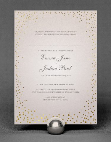 Sparkle Wedding Invitation Foil Stamped in Gold on Oyster Pearl Card