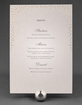 Sparkle Wedding Menu Foil Stamped in Gold on Oyster Pearl Card
