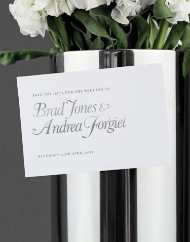 Elegance Save The Date Magnet Foil Pressed in Silver