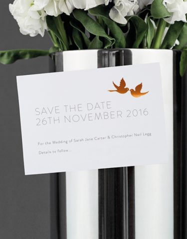 Love Birds Save The Date Magnet Foil Printed in Copper