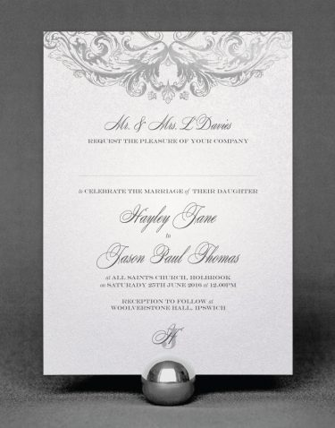 Baroque Wedding Invitation Foil Printed in Silver on White Pearl Card