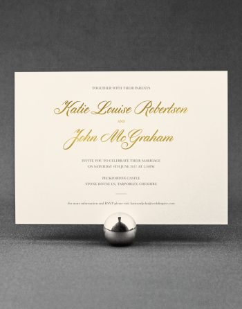 Classic Wedding Invitation Foil Stamped in Gold on Ivory Card