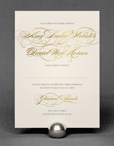 Estate Wedding Invitation Foil Printed in Gold on Ivory Card