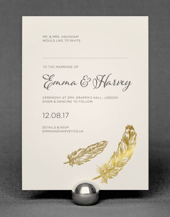 Feather Wedding Invitation Foil Pressed in Gold on Ivory Card