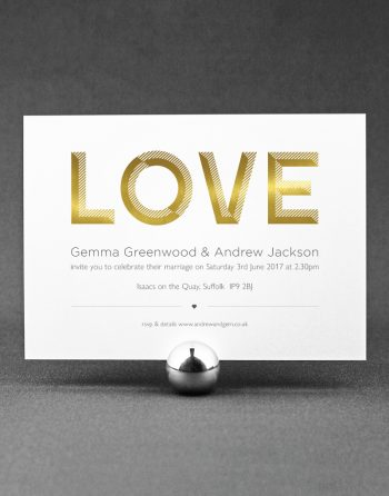 Love Wedding Invitation Foil Printed in Gold on White Card