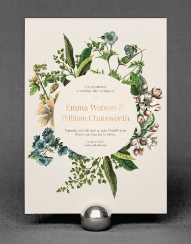 Wildflower Wedding Invitation Foil Pressed in Rose Gold on Ivory Card