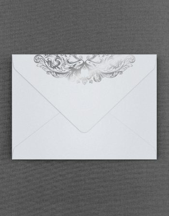 Baroque White Pearl Wedding Envelope Foil Stamped in Silver