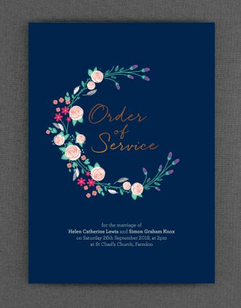 Farndon Order of Service Foil Printed in Copper on Navy Card
