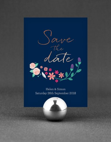 Farndon Save the Date Foil Stamped with Rose Gold on Navy Card