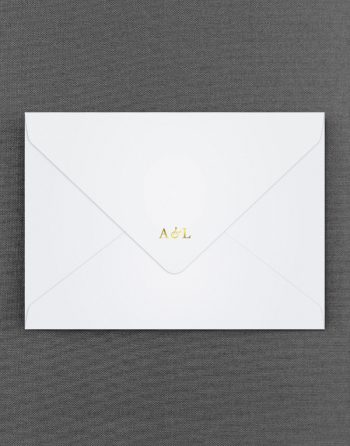Sunburst White Wedding Envelopes with Foil Stamped Initials in Gold