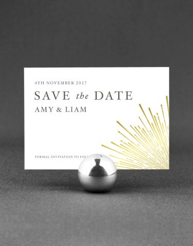 Sunburst Save the Date Foil Printed in Gold on White Card