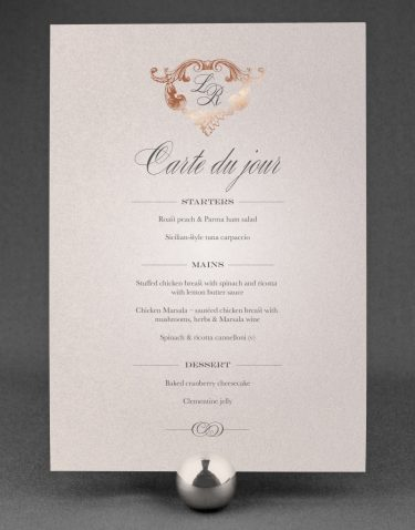 Beaumont Wedding Menu Foil Printed in Rose Gold on Oyster Pearl Card