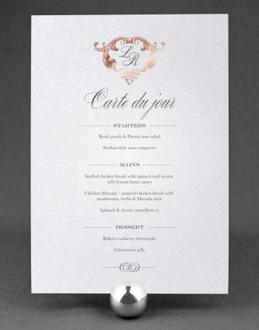 Beaumont Wedding Menu Foil Pressed in Rose Gold on White Pearl Card