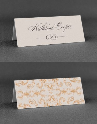 Beaumont Wedding Place Card with Nice Reverse Pattern Rose Ink