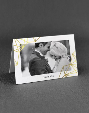 Geometric Thank You Card Foil Printed in Gold