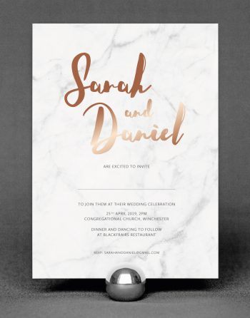 Rockwell Invitation with Foil Printed in Rose Gold on Marble Card