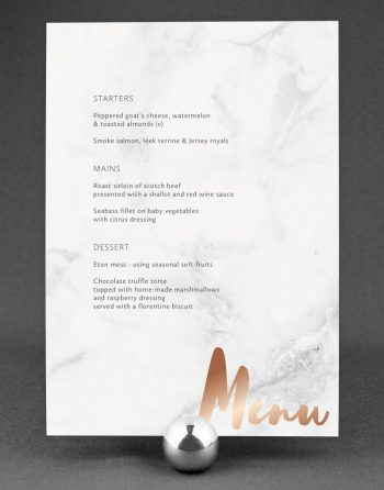 Rockwell Wedding Menu Foil Stamped with Rose Gold on Marble Card