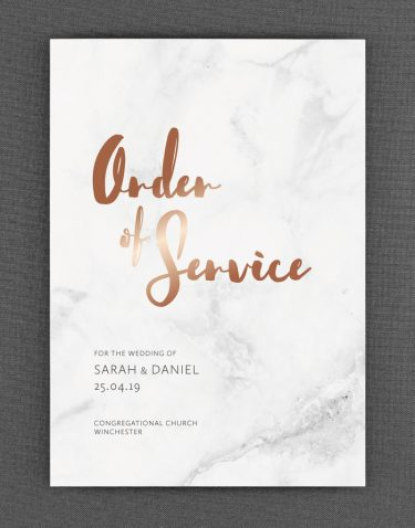 Rockwell Order of Service Foil Pressed in Rose Gold on White Card