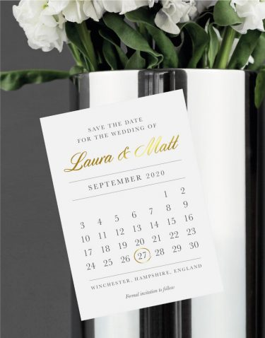 Calendar Save the Date Foil Printed in Gold on Magnetic Card