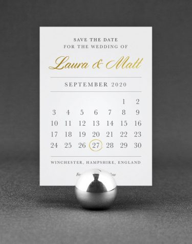 Calendar Save the Date Foil Printed in Gold on White Card