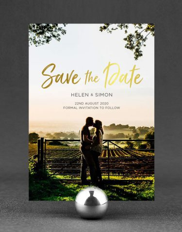 Photographic Save the Date Foil Printed in Gold