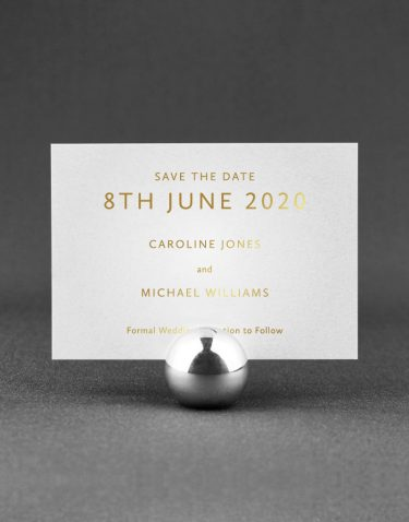 Sarto Sans Save the Date Foil Printed in Gold on Pearl Card