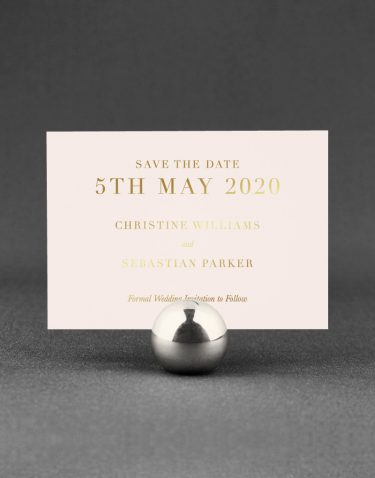 Sarto Serif Save the Date Foil Printed in Gold on Blush Card