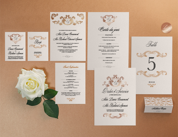 Beaumont Collection by The Foil Invite Company - Beaumont's vintage grandeur is sure to impress with it's detailed foil embellishments.
