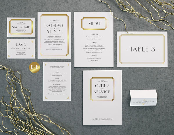 Deco Collection by The Foil Invite Company - A glamorous collection in the art deco style, encapsulating the spirit of the 1920's.
