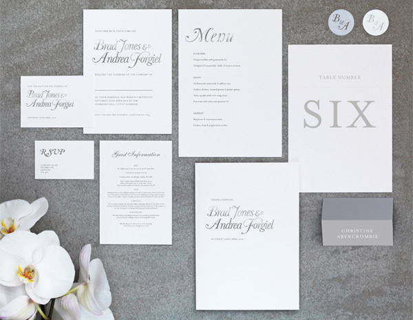 Elegance Collection by The Foil Invite Company - Embracing a 'Less is More' aesthetic. Elegance has a quiet confidence that oozes class.