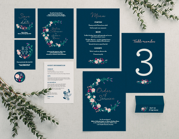 Farndon Collection by The Foil Invite Company - A delicate, pretty collection with original floral designs. Perfect for a relaxed country wedding.