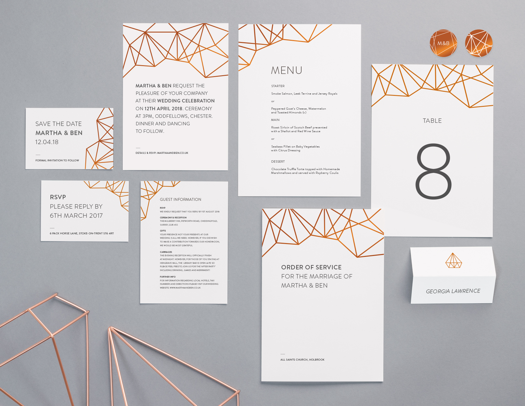 Geometric Collection by The Foil Invite Company - Embrace the geometric design trend with a modern, clean and stylish look.