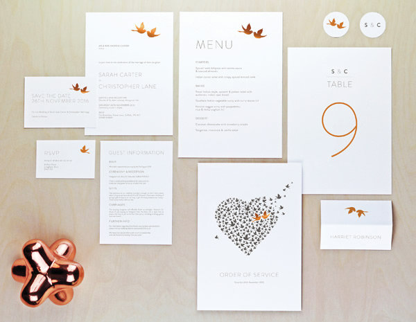 Love Birds Collection by The Foil Invite Company - A minimal and delicate collection. Balanced with a pair of metallic, cooing love birds.