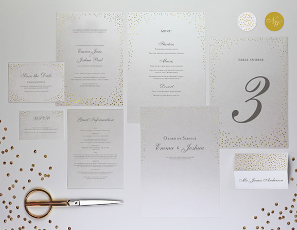 Sparkle Collection by The Foil Invite Company - It's raining glitter! Fusing traditional typefaces and layout with a beautiful metallic twist.