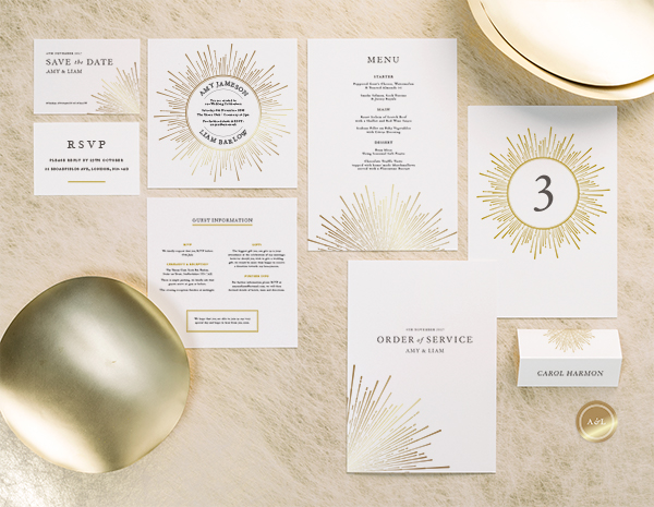 Sunburst Collection by The Foil Invite Company - A retro styled collection that will dazzle your guests with sunbeams of striking metallic foil.