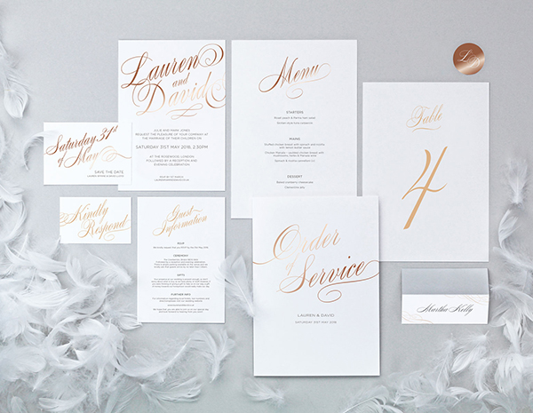 Script Collection by The Foil Invite Company - The graceful flowing script font makes this collection effortlessly stylish.