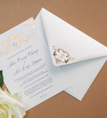 Foiled Envelopes, wedding stationery hand printed in the UK by The Foil Invite Company