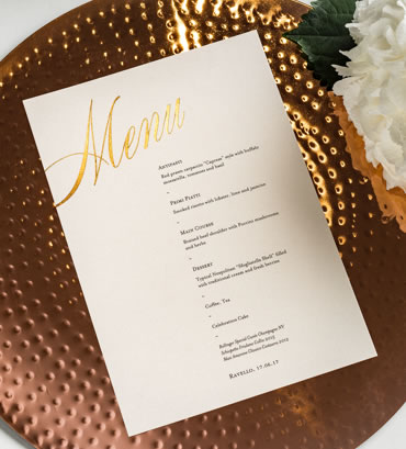 Foil Wedding Menu, wedding stationery hand printed in the UK by The Foil Invite Company