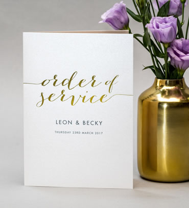 Foiled Order of Service, wedding stationery hand printed in the UK by The Foil Invite Company