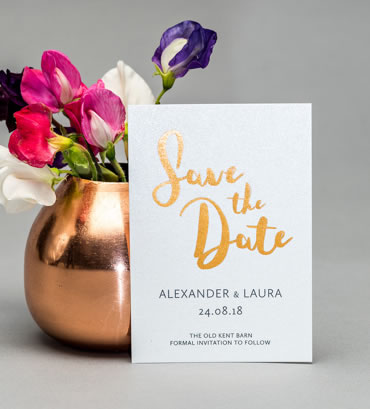 Foiled Save The Date, wedding stationery hand printed in the UK by The Foil Invite Company