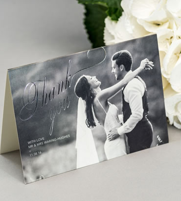 Foiled Thank You Cards, wedding stationery hand printed in the UK by The Foil Invite Company