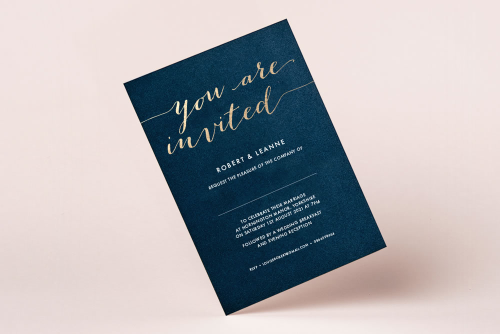 Foil Wedding Invitations, wedding stationery hand printed in the UK by The Foil Invite Company
