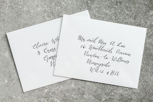Let us hand address your envelopes with elegant modern calligraphy. Simply email us an excel or csv file with your guests addresses and we'll do the rest.