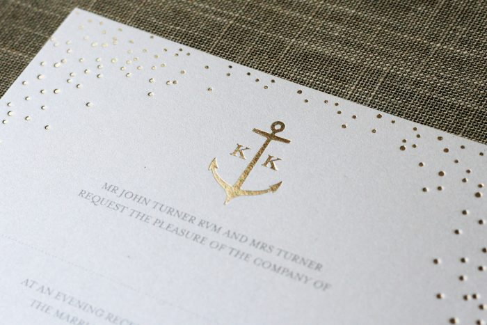 Sparkle Wedding Invitation with Bespoke Anchor Detail Foil Stamped in Gold on White Pearl Card
